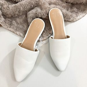 White Mules Slides Flats Shoes A New Day Women's 7